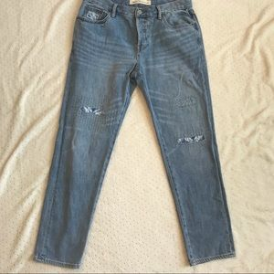 Gap Womens Jeans Blue 27 Relaxed Boyfriend Patches